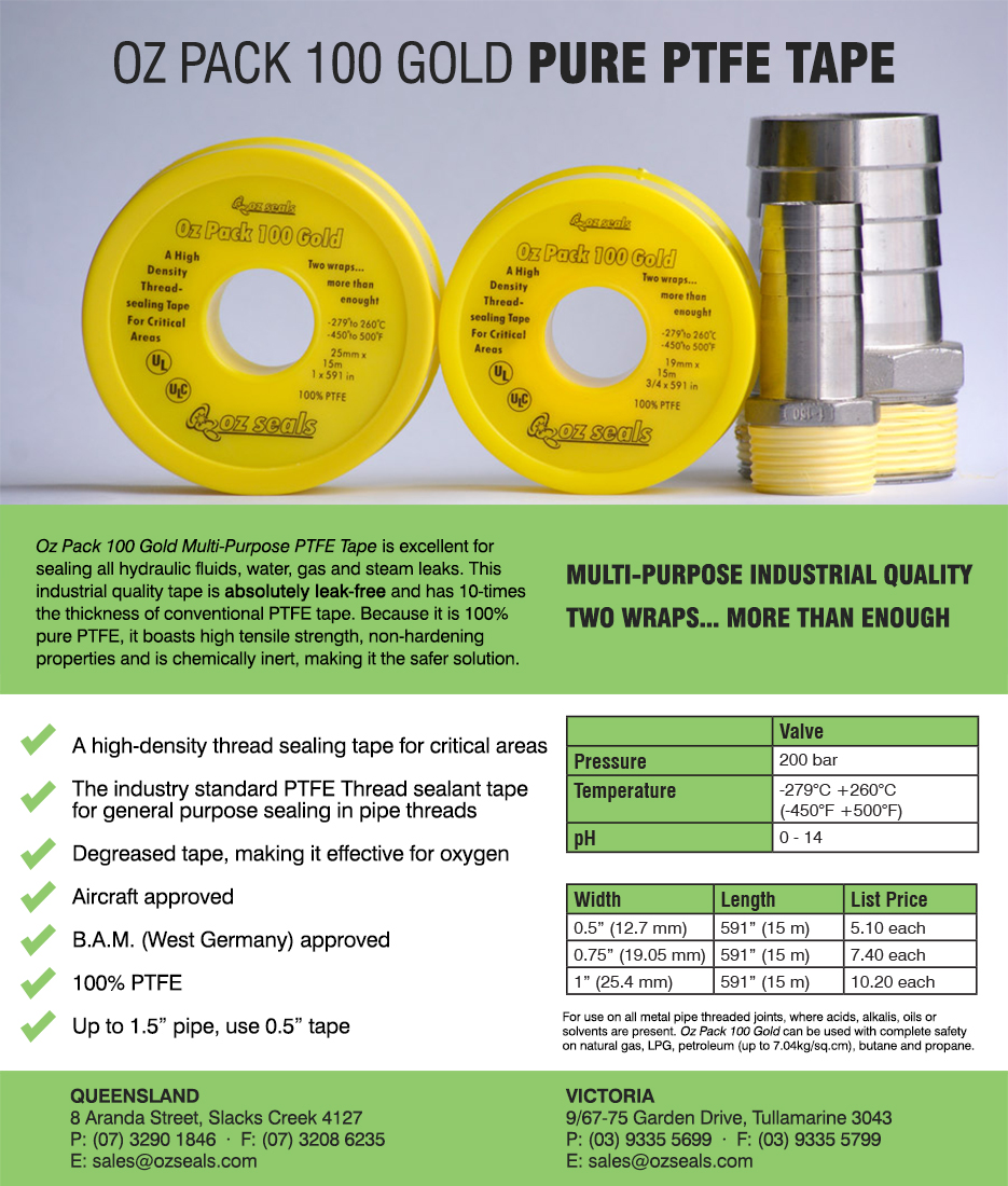 Oz Pack 100 Gold PTFE Tape or Teflon Tape available at National Manufacturing Expo and online at Sealnet webstore