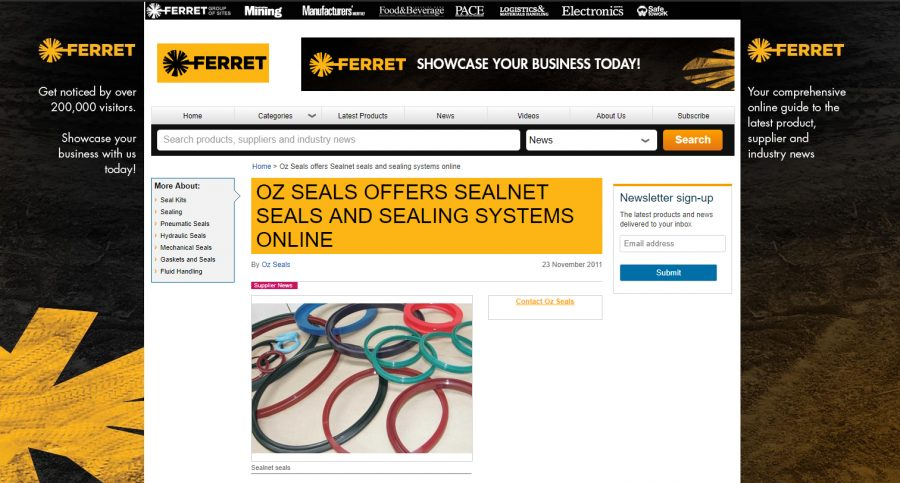 Oz Seals offers Sealnet seals and sealing systems online.