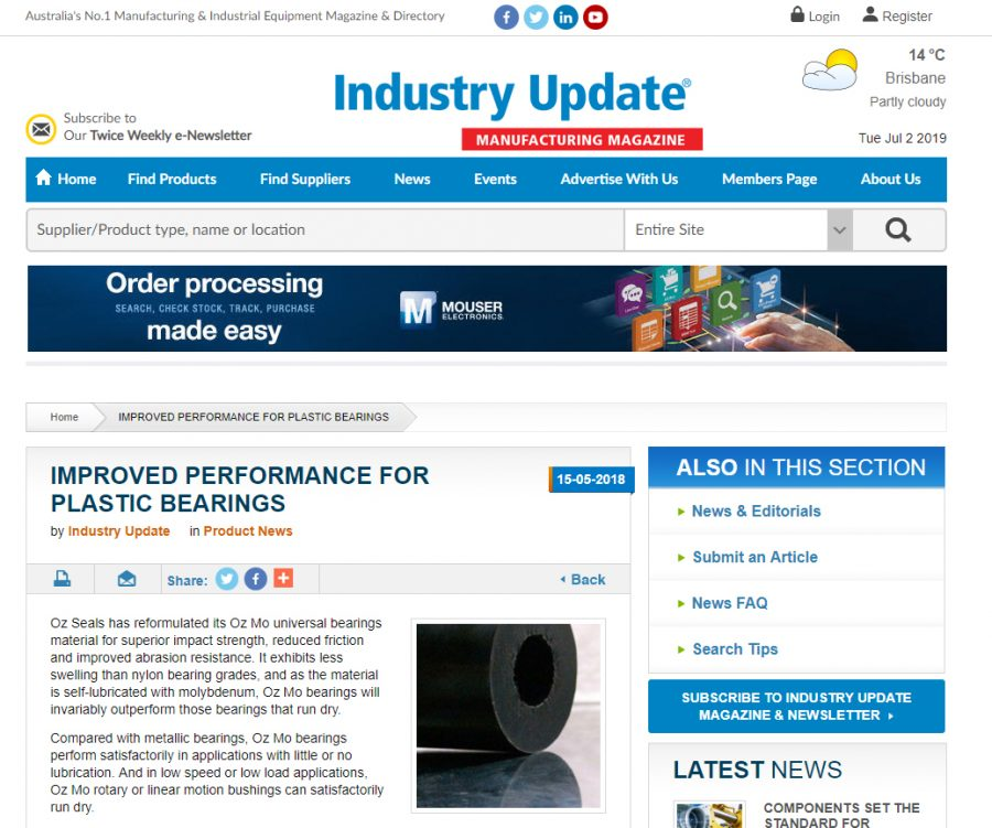 Improved performance for plastic bearings