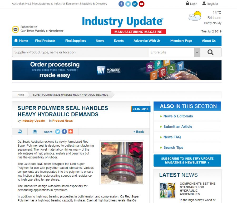 Super Polymers seal handles heavy hydraulic demands