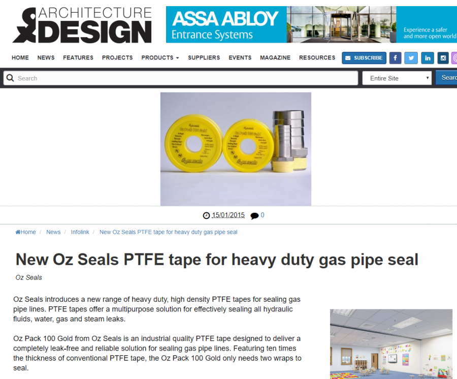 Oz Seals PTFE tape for heavy duty gas pipe seal
